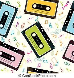 notatki, kasety, taśma, tło, dźwiękowy, muzyczny