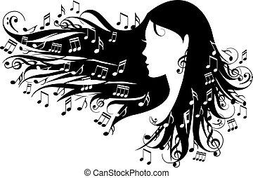 notatki, kobieta, muzyka