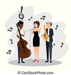 notatki, kobieta, muzyka, mężczyźni, znaki