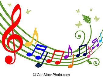 notatki, muzyczny, barwny