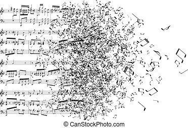 notatki, muzyka, precz, taniec
