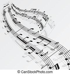 notatki, muzyka, tło, machać