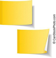 notatki, papier, żółty, lepki