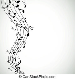 notatki, wektor, muzyka