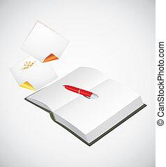 notatnik, otworzony, długopis