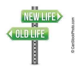 nowe życie, stary, albo, znak