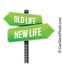 nowe życie, stary, znak