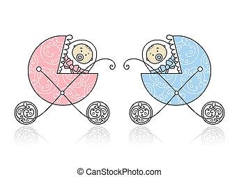 nowo narodzony, projektować, powozik, niemowlę, twój