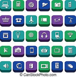 nowoczesna technologia, ikony