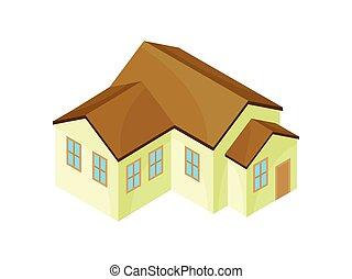 nowoczesny, house., ilustracja, tło., wektor, beżowy, wzór, biały