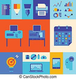 nowoczesny, komplet, handlowa ilustracja, workflow