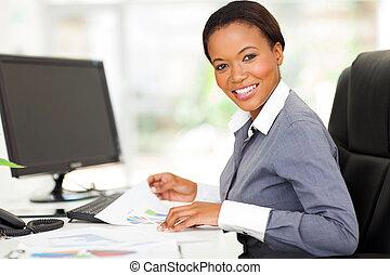 nowoczesny, pracownik, młody, biuro, afrykanin