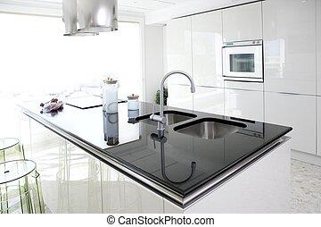 nowoczesny, projektować, czysty, wewnętrzny, biały, kuchnia