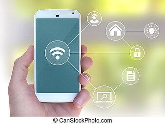nowoczesny, ruchomy, wifi, apps, automatyzacja, telefon, złączony, mądry, ręka, samiec