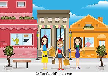 nowoczesny, zakupy, kobiety