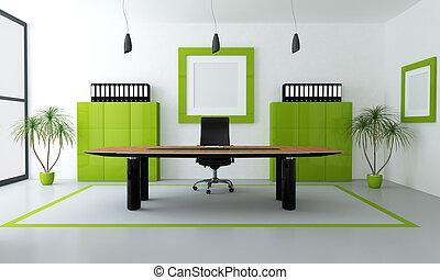 nowoczesny, zielony, biuro