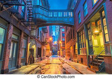 nowy, alleyways, york, miasto