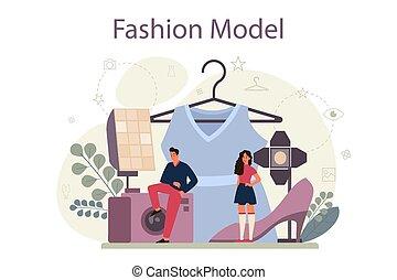 nowy, concept., odzież, fason modelują, kobieta, przedstawiać, człowiek