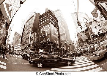 nowy, czasy, york, square., miasto
