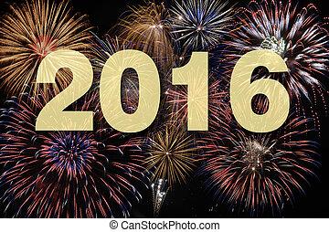 nowy, fajerwerk, 2016, szczęśliwy, rok