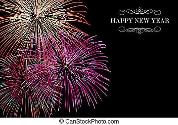 nowy, fajerwerki, szczęśliwy, tło, rok
