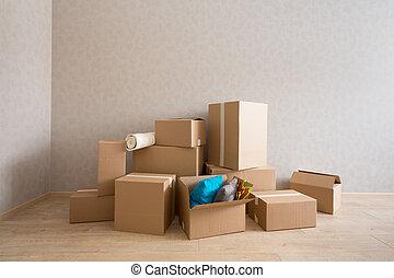 nowy, kabiny, tektura, pokój, opróżniać