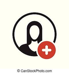 nowy, ludzie, dodatni, poznaczcie., dodać, avatar, ikona, plus, symbol, ikona
