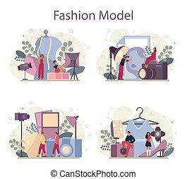 nowy, pojęcie, fason, człowiek, odzież, przedstawiać, wzór, kobieta, set.