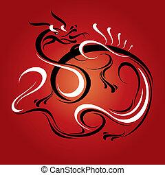 nowy rok, karta, smok