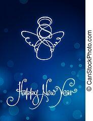 nowy rok, karta, szczęśliwy