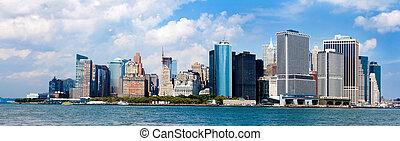 nowy, sylwetka na tle nieba, miasto, york, panorama
