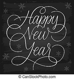 nowy, szczęśliwy, powitania, chalkboard, rok