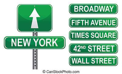 nowy, ulica, york, znaki
