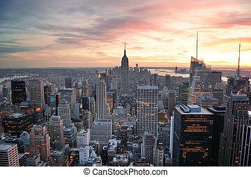 nowy, zachód słońca, york, miasto
