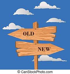 nowy, znak, wektor, ilustracja, ulica, stary, wybór, albo, pojęcie