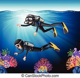 nurkowanie, scuba, ocean