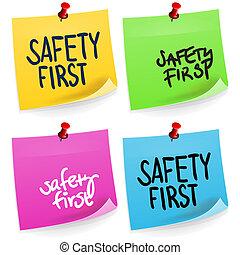nuta, pierwszy, bezpieczeństwo, lepki
