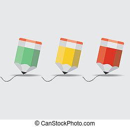 ołówek, 10., set., eps, ilustracja, wektor
