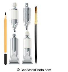 ołówek, artysta, narzędzia, namalujcie szczotkę, balie
