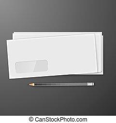 ołówek, biały, dwa, koperty