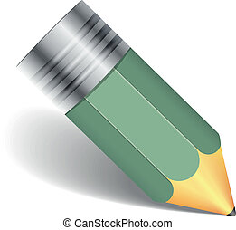 ołówek, cień, zielony