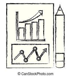 ołówek, dokument, finansowy