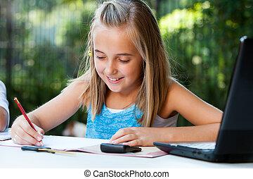 ołówek, dziewczyna, outdoors., młody, schoolwork