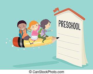 ołówek, enroll, dzieciaki, stickman, jazda, preschool