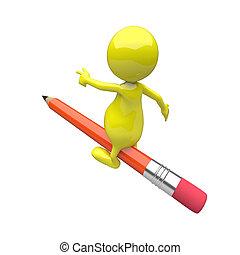 ołówek, jazda, 3d, ludzie