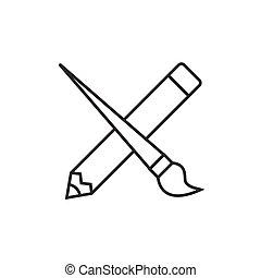 ołówek, krzyżowany, szczotka, malować