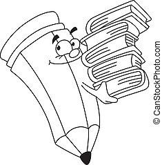 ołówek, książkowy, konturowany