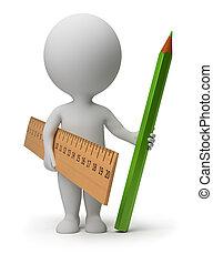 ołówek, ludzie, linia, -, mały, 3d