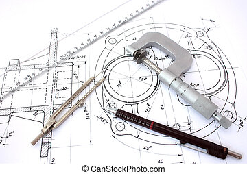 ołówek, mikrometr, blueprint., busola, linia