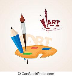 ołówek, paleta, szczotka sztuki, malować